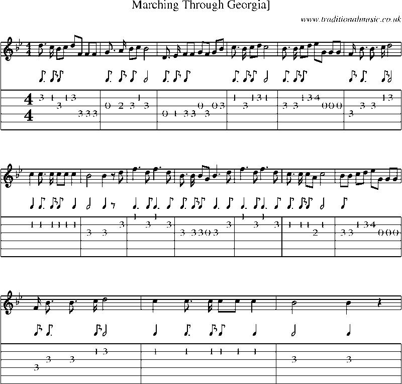 Guitar sheet music for guitar : Guitar Tab and sheet music for Marching Through Georgia]